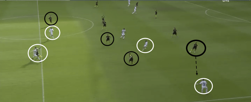This example shows just how deep Zeca is now having to drop to get on the ball. Him having dropped so far towards his own goal allows Randers midfield to keep their shape and therefore not allow any gaps to appear. This was key to nullifying Copenhagen's dangerous movements from wide areas.